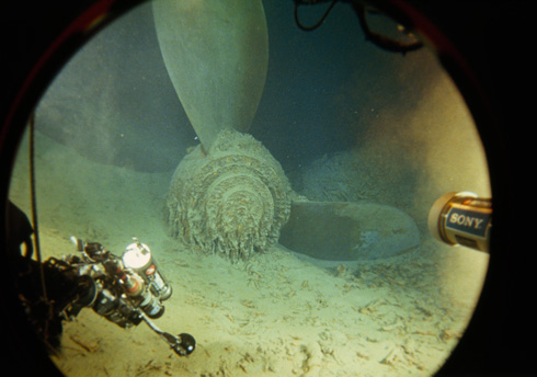 View of the propeller of the R.M.S. Titanic from the Mir submersible porthole. (National Geographic/Emory Kristof)
