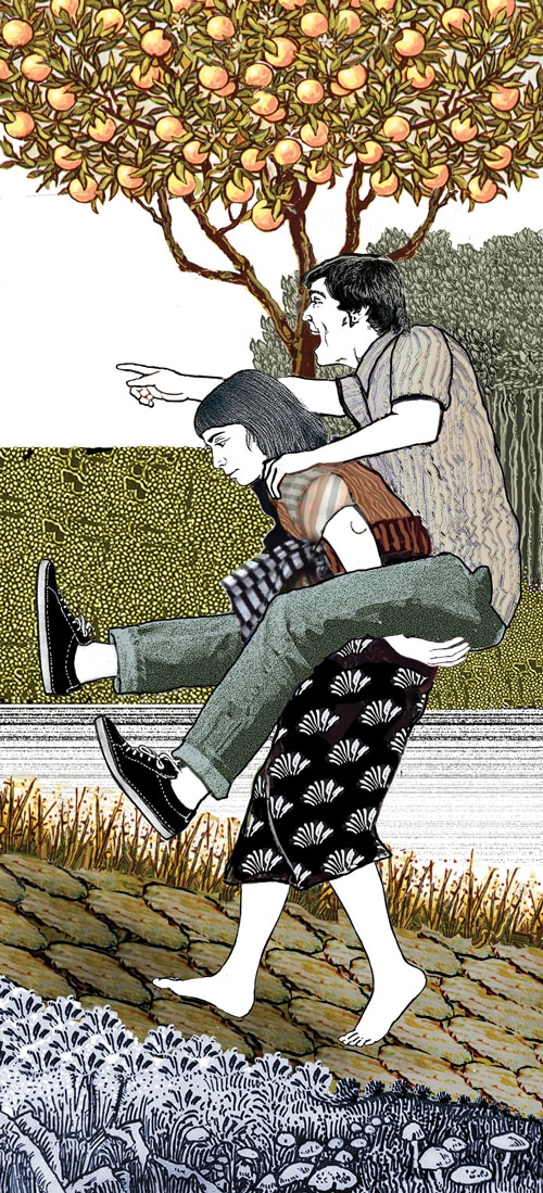 Illustration of woman carrying man by Pat Linse