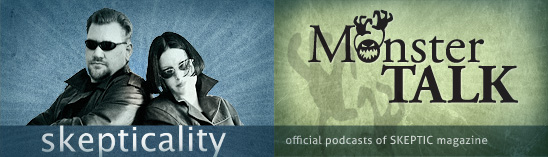 Skepticality and MonsterTalk podcast logos