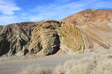 Distorted sedimentary layers at Calico (photo by David Patton)