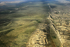 A dramatic ariel view of the San Andreas Fault along the Carrizo Plain.