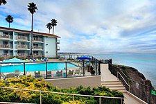 Best Western Shore Cliff Lodge above the beach. Every room has a balcony and ocean view.
