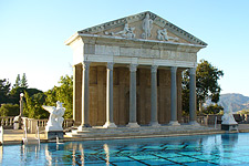 The Neptune Pool at Hearst Castle boasts the actual facade of an ancient Roman temple imported from Europe.