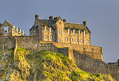 Edinburgh Castle on Castle Rock at sunset