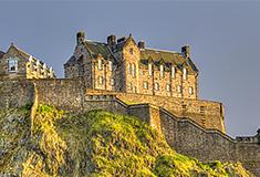 Edinburgh Castle on Castle Rock at sunset