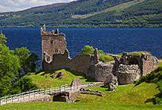 Ruins of Urquhart Castle near Loch Ness