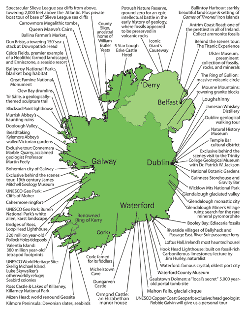 Detaile Irish Geology Tour Map