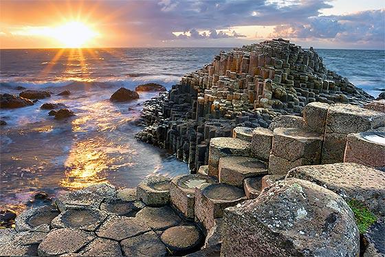 Sunset at Giants Causeway in North Antrim, Northern Ireland