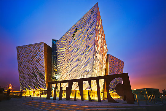 Sunset over Belfast Titanic