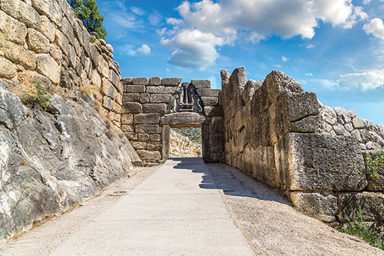 The Lion Gate in Mycenae, Monopoli, Puglia, Italy Peloponnese, Greece