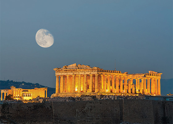 The illuminated Parthenon on the Athenian Acropolis