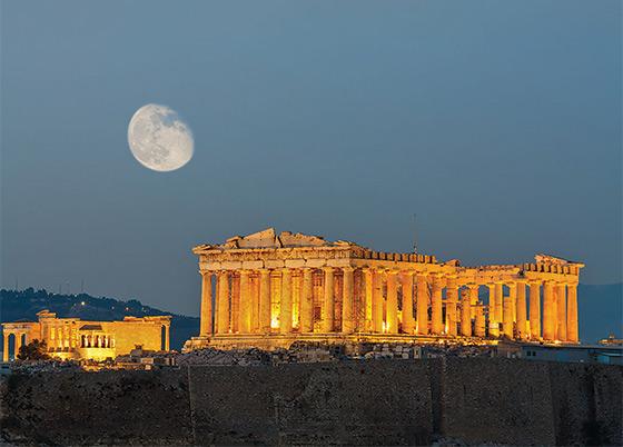 The illuminated Parthenon on the Athenian Acropolis