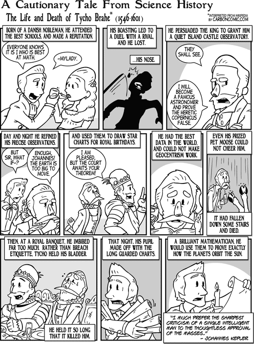 A Cautionary Tale from Science History: The Life and Death of Tycho Brahe (1546–1601) (Carbon Comic by Kyle Sanders in Skeptic magazine issue 18.4)