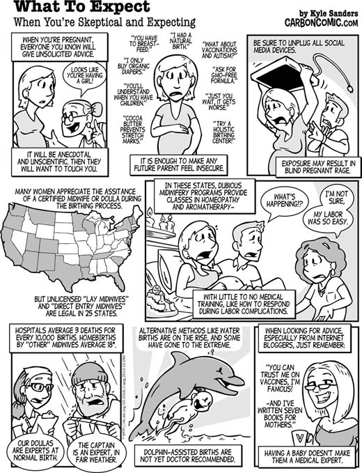 What to Expect When You're Skeptical and Expecting (Carbon Comic by Kyle Sanders in Skeptic magazine issue 19.3)