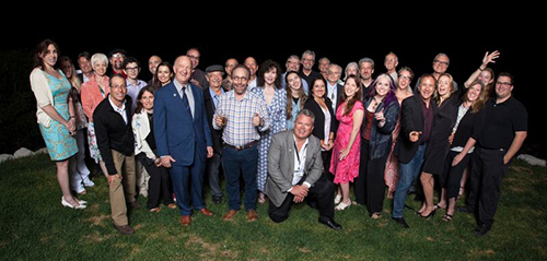 Conference participants and speakers at the Shermer home