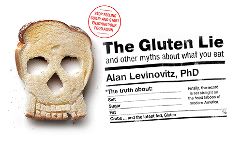 Reconfigured elements form the cover of The Gluten Lie: and other myths about what you eat