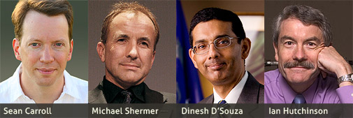 Sean Carroll, Michael Shermer (photo by David patton), Dinesh D'Souza, and Ian Hutchinson