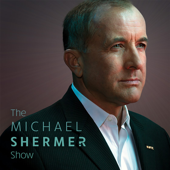 The Michael Shermer Show (pocacst logo and portrait of Michael Shermer)