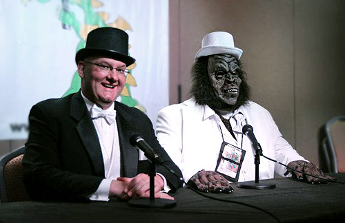 Ben Radford (left) and Blake Smith conduct a live MonsterTalk at Dragon*Con 2012. (Photo courtesy Susan Gerbic)