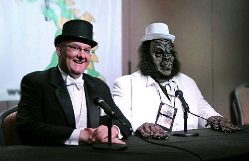 Ben Radford (left) and Blake Smith conduct a live MonsterTalk at Dragon*Con 2012. (Photo courtesy Susan Gerbic)