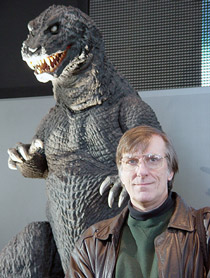 Ed Godziszewski (right) pictured with Godzilla, King of the Monsters (left)