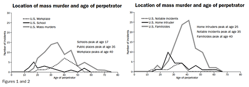 Figure 1 and 2: Location of mass murder and age of perpetrator