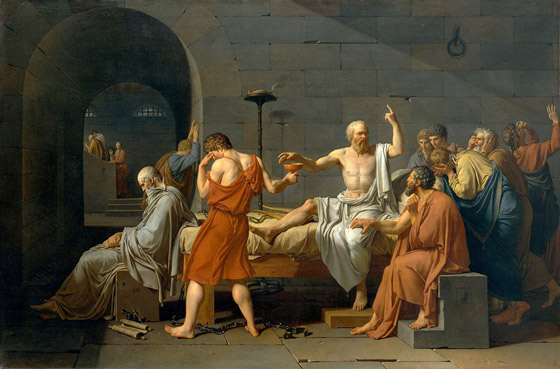The Death of Socrates, by Jacques-Louis David [Public domain], via Wikimedia Commons