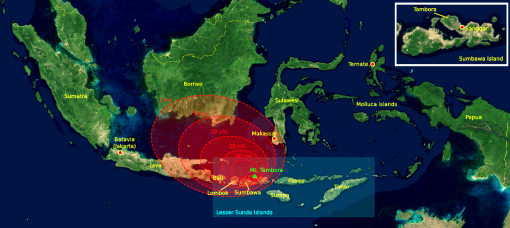 Map showing the distribution of the main ash cloud away from the eruption of Tambora, on the island of Sumbaya. Mt. Krakatau is in the strait between Java and Sumatra. (Courtesy Wikimedia Commons).
