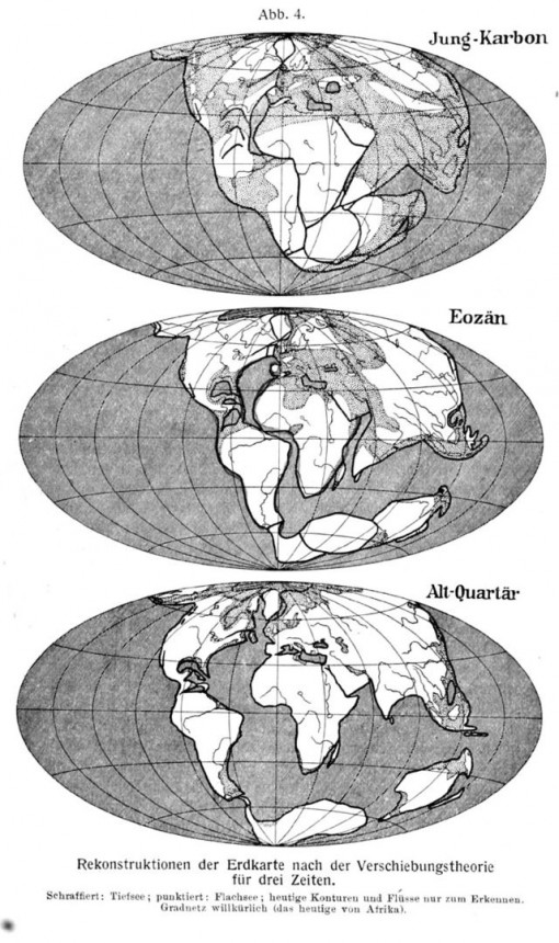 Alfred Wegener's 1915 reconstruction of the drifting of the continents from a supercontinent of Pangea to today. (Courtesy Wikimedia Commons).