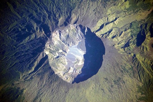 Aerial view of Mt. Tambora today, showing the enormous caldera.