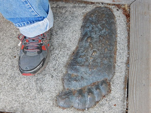 Prothero's foot beside supposed bigfoot track, outside the Bigfoot Museum