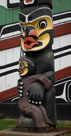 "How did this traditional cannibal ogress come to be claimed by cryptozoology as a depiction of their ""Bigfoot"" cryptid? (Kwakwaka'wakw heraldic pole. Carved in 1953 by Mungo Martin, David Martin, and Mildred Hunt, it is in Thunderbird Park at the Royal British Columbia Museum, Victoria. Photograph by Daniel Loxton)"
