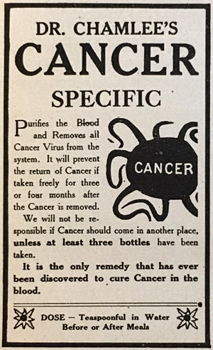 "A typical fraudulent cancer ""cure"" highlighted in the American Medical Association's Nostrums and Quackery (1912)"