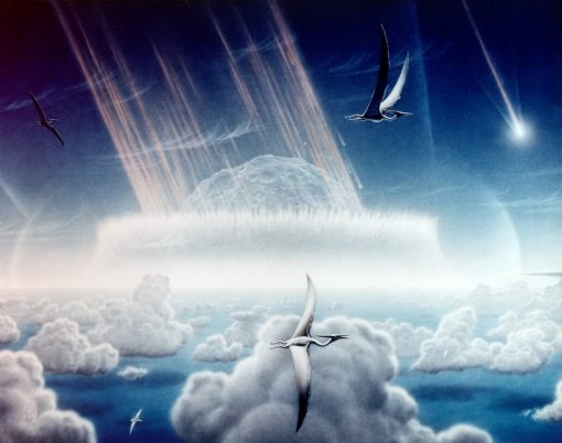 Artist's conception by NASA artist Don Davis of the impacting asteroid smashing into earth at the end of the Cretaceous. (Courtesy WIkimedia Commons).