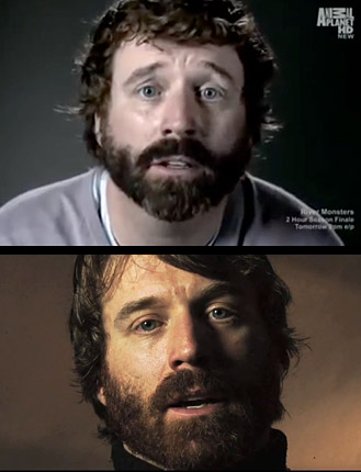 """Dave Evans in his 2012 role as """"Dr. Paul Robertson"""" in Mermaids: The Body Found (above) and his 2008 role as """"Dr. mark Hoyt"""" in Goblin Man of Norway (below)."""