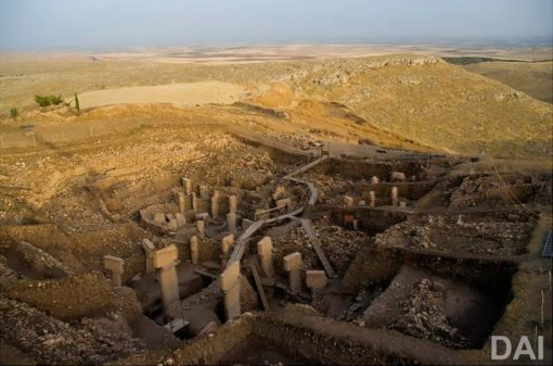 View of Göbekli Tepe excavation
