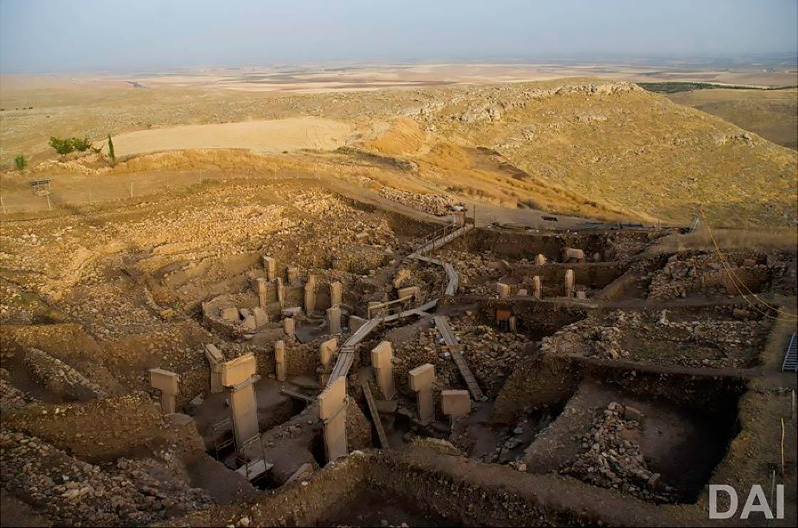 View of Göbekli Tepe excavation