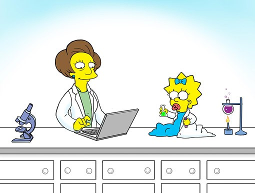 """Baby Maggie Simpson and Mrs. Krabappel doing science. (Original art by former """"Simpsons"""" animator Anna Maltese, used with permission)."""
