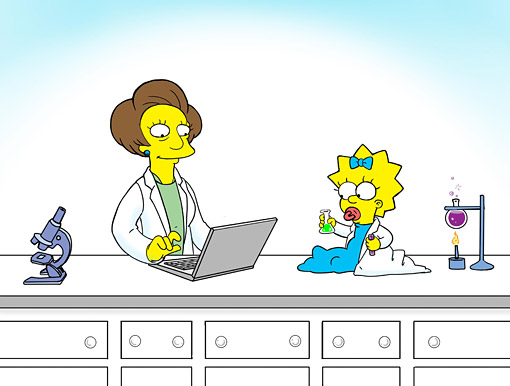 "Baby Maggie Simpson and Mrs. Krabappel doing science. (Original art by former ""Simpsons"" animator Anna Maltese, used with permission)."