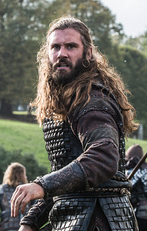 Rollo, played by Clive Standen, mid battle.