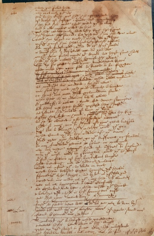 A possible example of Shakespeare's handwriting. By Unknown. (Scanned from the original document.) [Public domain], via Wikimedia Commons