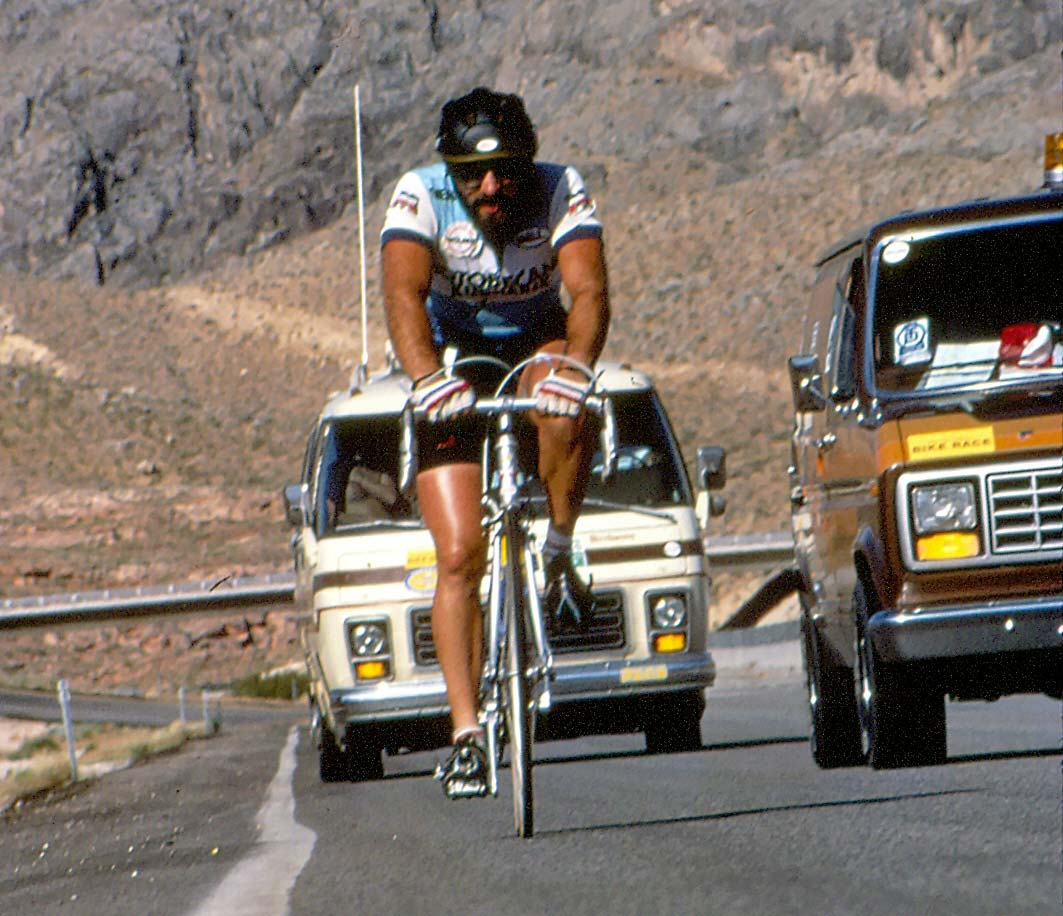 Michael Shermer in the 1984 Race Across America, crossing from Arizona into Utah through the Virgin River Gorge.