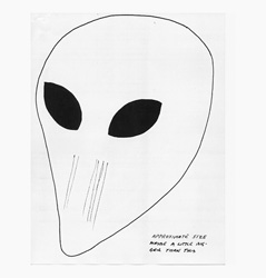 FIGURE 1: a typical face drawn by a self-claimed UFO abductee