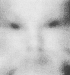 "FIGURE 7: The mother's face immediately after birth. Cloudiness was added to Figure 6 and the image was coincidentally smoothed to remove the residual high spatial frequencies. Squinting at the picture enhances the ""UFO alien"" effect eve"